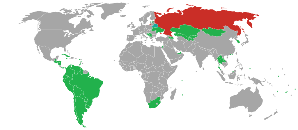 Visa policy to travel Russia - World map