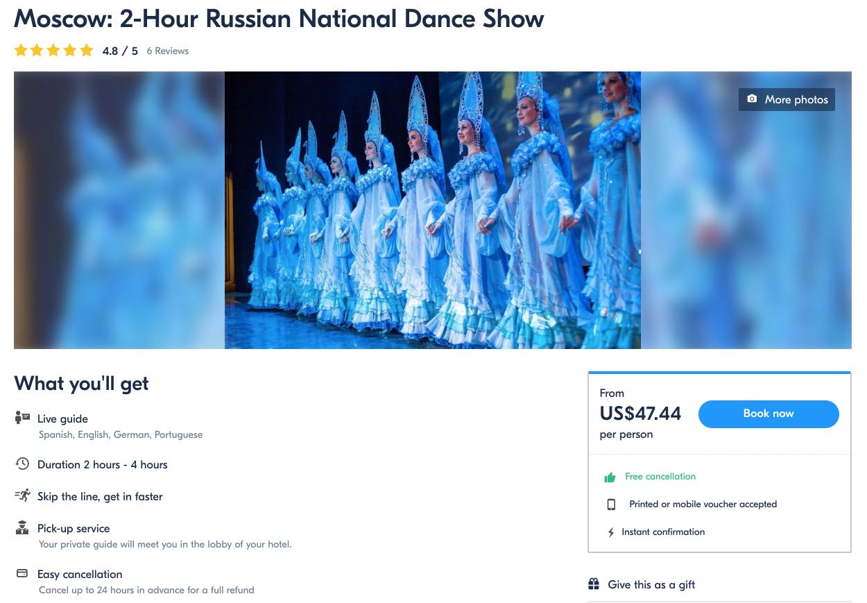 Moscow 2-Hour Russian National Dance Show Kostroma USD