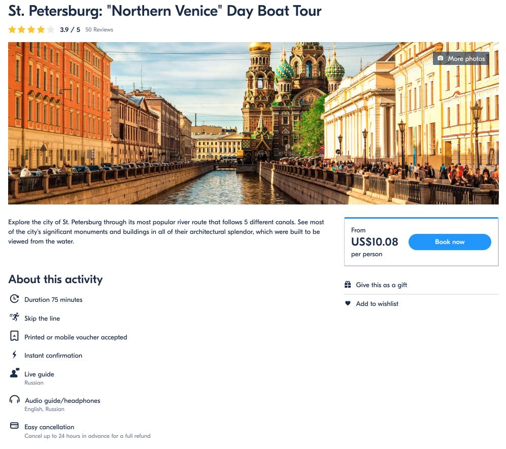 St Petersburg - Northern Venice Day Boat Tour