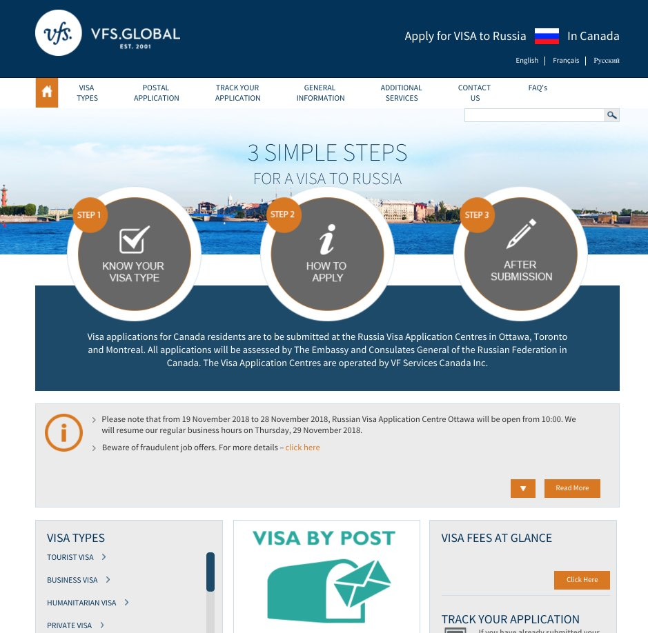Russia Visa Information Center in Canada