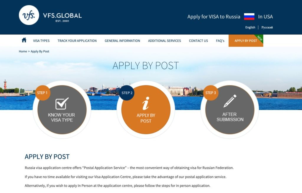 Russia Visa Information in USA - Apply By Post - VFS Global