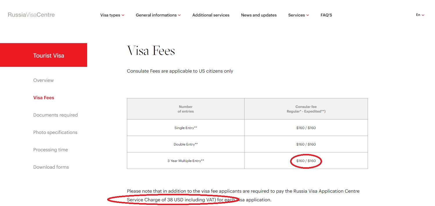 Fee of 3 year multiple russian visa for americans citizens - Russia Visa Centre