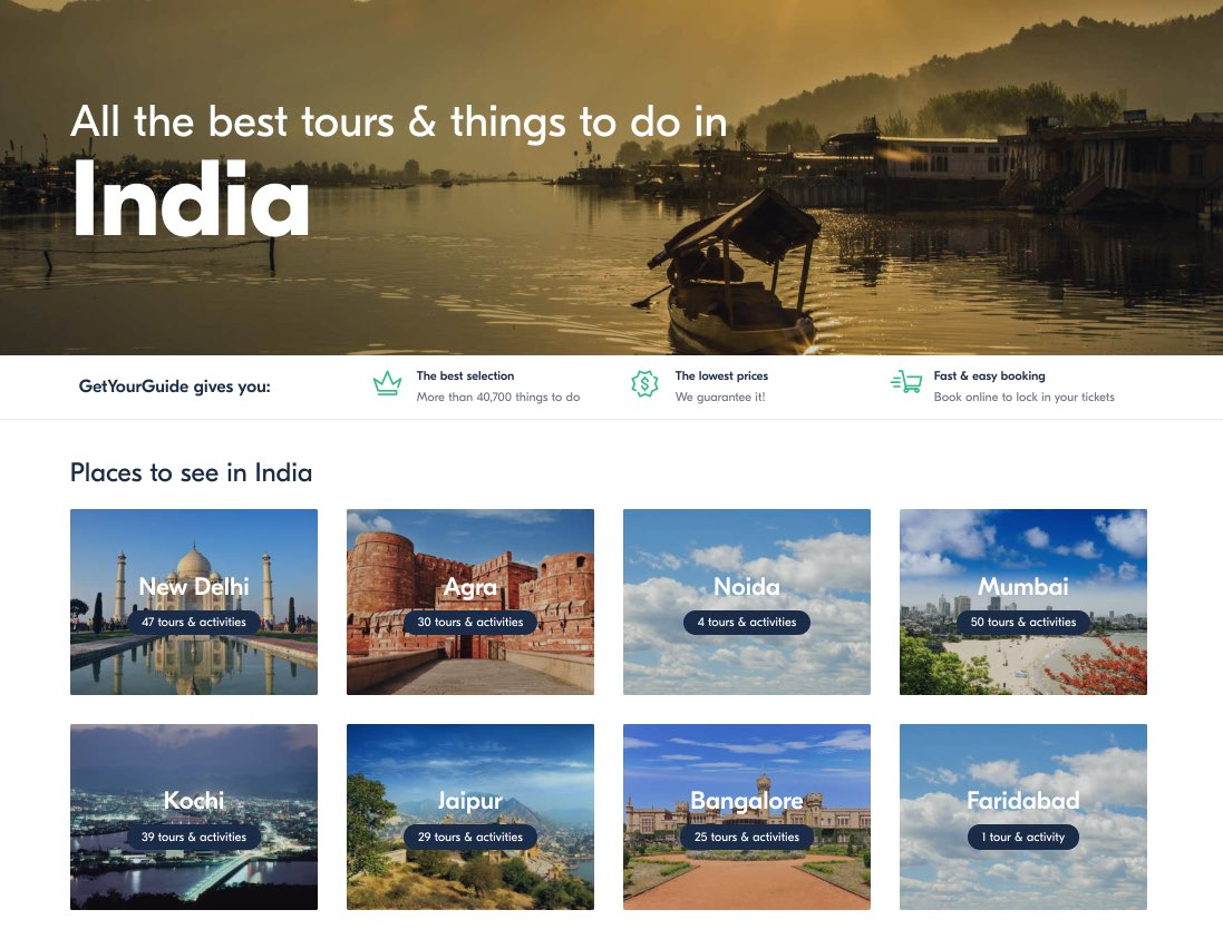 Tours and activities in India