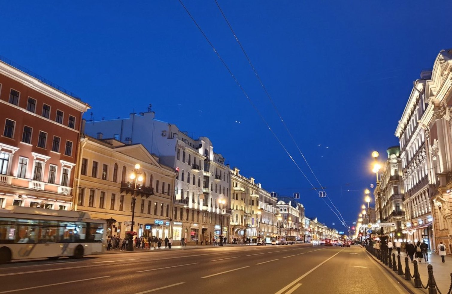 Nevsky Prospect in St Petersburg at night