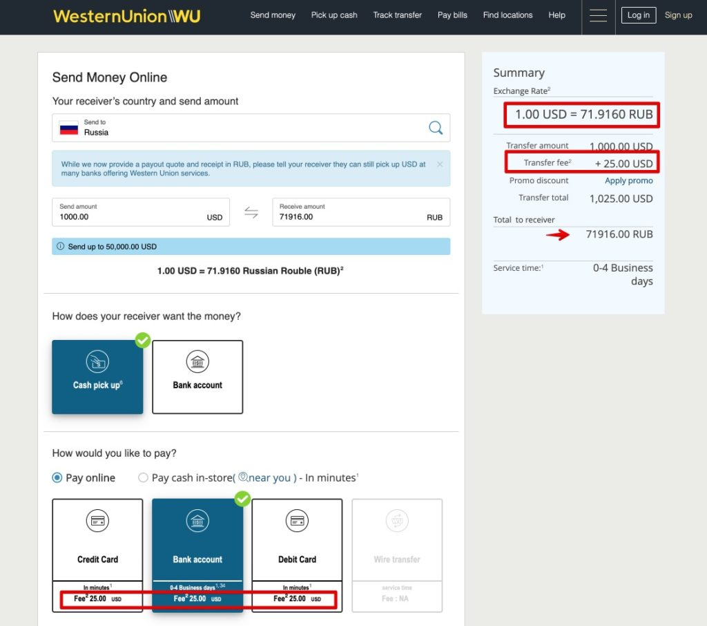 Send money to Russia by Western Union USD dollars